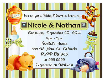 20 WINNIE THE POOH BLUE GREEN STRIPES BABY SHOWER INVITATIONS w/envelopes