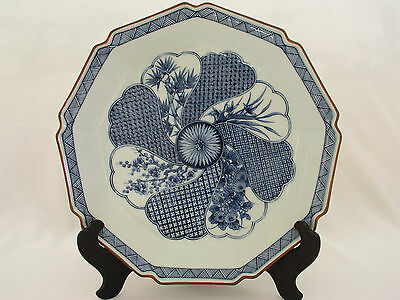 """VINTAGE FITZ & FLOYD ASIAN BLUE & WHITE 12"""" CHARGER / CABINET PLATE - SIGNED"""