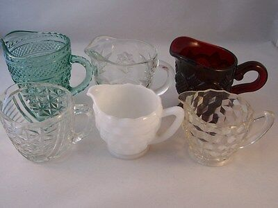 Lot of 6 Vintage Glass Cream Pitchers Creamer Indiana Hocking Jeannette Avon