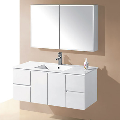 IVANA WALL HUNG 1200mm BATHROOM VANITY FINGERPULL WHITE GLOSS POLY CERAMIC BASIN