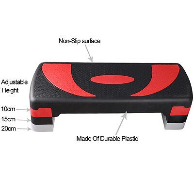 Aerobic Step Stepper Adjustable Height 3 Level Non Slip Fitness Exercise Board