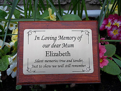 Solid Wooden Memorial Stake Grave Spike Cremation with Personalised Plaque