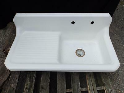 Antique Vintage Cast Iron  Porcelain Farm Sink Kitchen Right Drainboard  3639-14