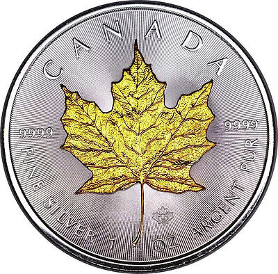 Gold Gilded 2014 Canadian Maple Leaf 1 oz Silver Coin .999 Fine