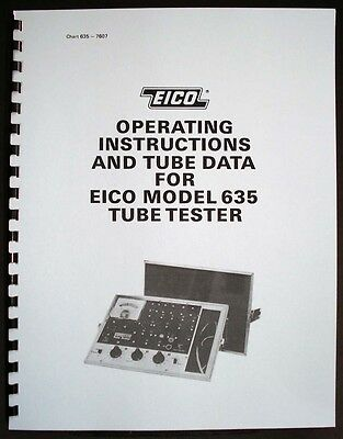 EICO 635 Tube Tester Manual with 1976 Tube Test Data