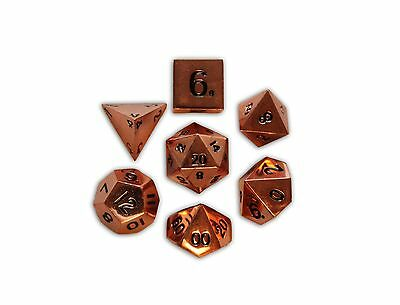 Set of 7 Polyhedral Metal Dice Copper Still Norse Foundry D&D Pathfinder RPG