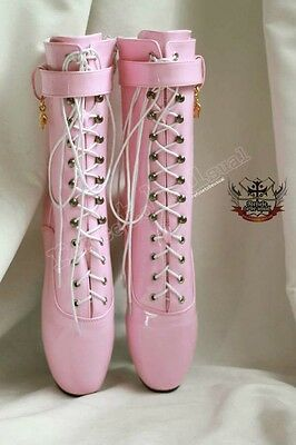 """18cm 7"""" Ballet Pointe Shoe Fetish Shiny Patent Light Baby Pink Laceup Calf Boot"""