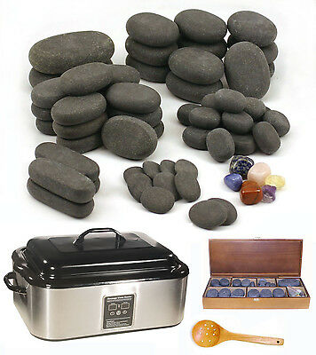 HOT STONE MASSAGE KIT: 64 Basalt/Chakra Stones + 18 Quart Digital Heater