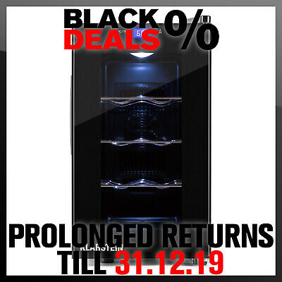 8 Bottle Wine Refridgerator Black Mini Bar Fridge Beer Chiller Drink Cooler