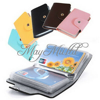 Pouch Leather Business Credit ID Card Holder Case Wallet For24 Cards Cool Hot Y
