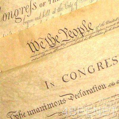 3 BIG POSTERS replica DECLARATION + CONSTITUTION + BILL OF RIGHTS parchment