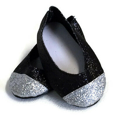 """Black & Silver Glitter Shoes made for 18"""" American Girl Doll Clothes"""