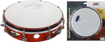 """Stagg TAB-108P-RD - 8"""" Tuneable Plastic Tambourine w/1 Row of Jingles - Red"""