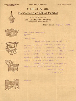 MINNET & CO MANUFACTURES OF WILLOW FURNITURE 365 LEXINGTON AVE,NY LETTER-(1913)