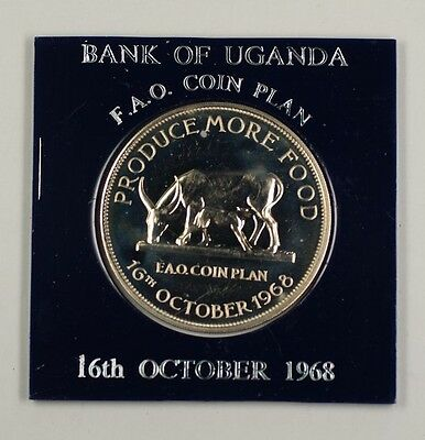 1968 16th October Bank of Uganda FAO Coin Plan Grow More Food 5 Schillings