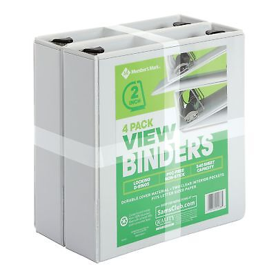 "Members Mark 4 pack 3 Ring D Ring Binders 2"" 525 Sheet Presentation View White"
