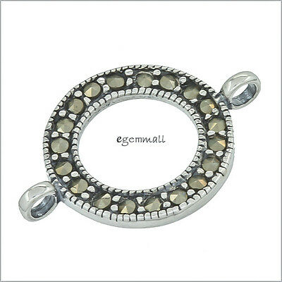 Sterling Silver Marcasite Donut Circle Link Connector For Pendant Earring #51812