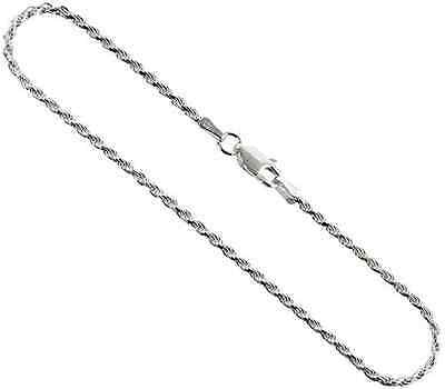 """Sterling Silver 925 Diamond-Cut Rope 2mm Chain Necklace - 16"""" 18"""" 20"""" 22"""" & 24"""""""