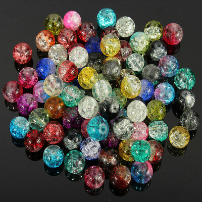 Wholesale 80Pcs Mixed Color Crystal Crack Glass Round Loose Spacer Beads 8mm