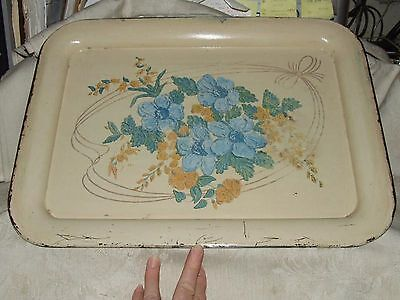 VINTAGE 1940s Hand Painted Tin TOLE TRAY