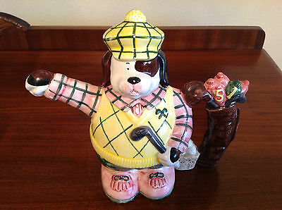 Whimsical Fitz and Floyd Dog Golfer teapot. Made in 1993 by Omnibus