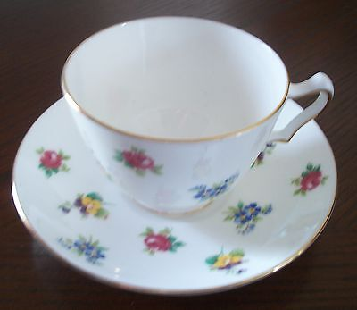Crown Staffordshire England Tea Cup and Saucer Roses Pansies Gold Trim Tea Cup