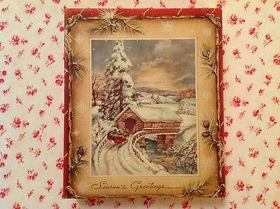 ~ Vintage 1940s Empty Card Box with Covered Bridge & Sleigh Ride Snow Scene ~