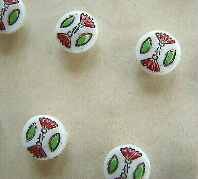 Vintage Glass Buttons - 1930's 12 Vintage Hand Painted Red/Green Glass buttons