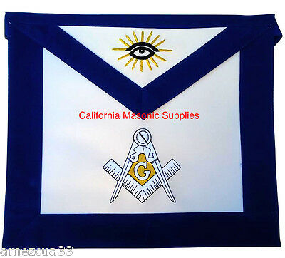 Freemason Master Mason Apron Blue Velvet Golden Bullion  Synthetic Heavy Leather