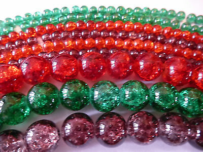 Autumn Colour for Halloween , Crackle Glass Beads OVER 720 BEADS BARGAIN PRICE!