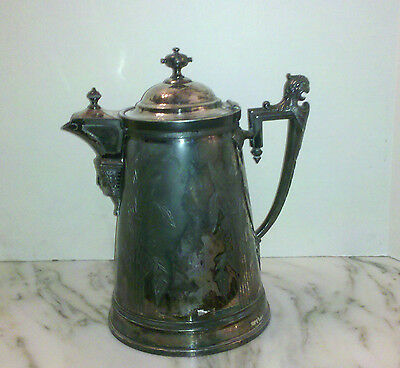 ANTIQUE Stimpson Victorian 1854 Silverplate Ice Water/Coffee Pitcher/ Pot