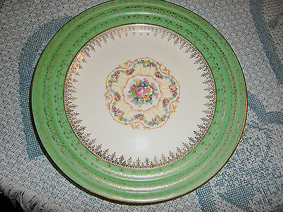 THE ARISTOCRAT BY LEIGH POTTERS  GREEN RIMMED PLATTER W/FLORAL CENTER 22KT. GOLD
