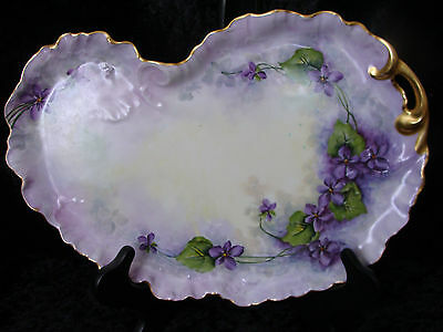 Antique Limoge  Hand Painted Dresser Tray with Violet Flowers