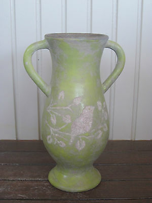 New Vintage Ancient Chateau Faded Olive Green Toned Ceramic Pottery Vase Urn