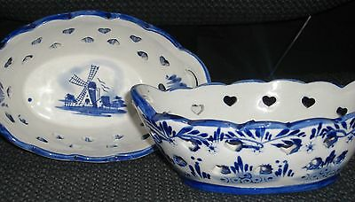 """BEAUTIFUL   VINTAGE   """" DELFT """" ???      WINDMILL   POTTERY BOWLS  -- SET OF 2"""