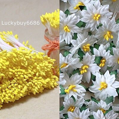 250 Yellow Double Sided Round Flower Stamen Craft Card Floral Wedding Artificial