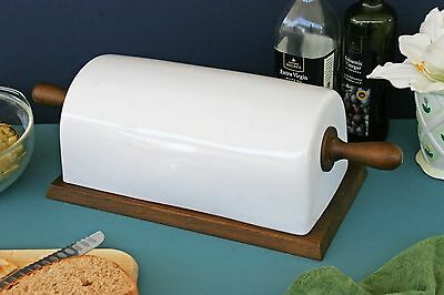 Pottery Barn Rhodes Bread Box Canister Ivory Ceramic & Wood New In Box