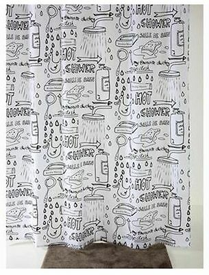 Modern Sketched Bathroom Bath Tub Shower Curtain Washable Polyester 180X180Cm