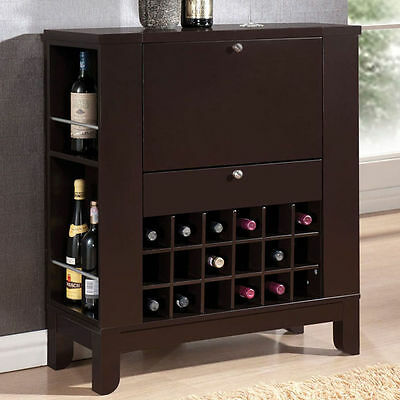 Nelson Dark Brown Finish Wood Bar Cabinet with Fold Down Front Cabinet