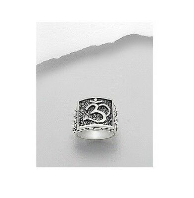 Sterling Silver .925 Om Ohm Aum Men's Square Ornate Fashion Ring Sizes 6-14