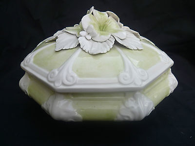 Tureen Italy Lidded ceramic Stunning Flower incrusted