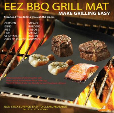 NEW Outdoor Home BBQ Grill Mat - As Seen On TV-Make Grilling Easy 2 Mats/Pack