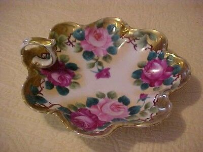 NIPPON HANDLED TRAY w/  ROSES; JAPAN