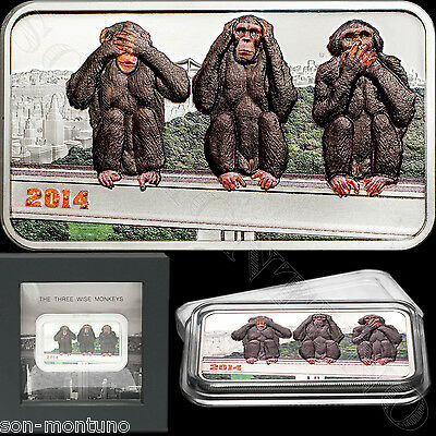 2014 Tanzania THREE WISE MONKEYS 1 oz Silver Coin SEE-HEAR-SPEAK NO EVIL Japan