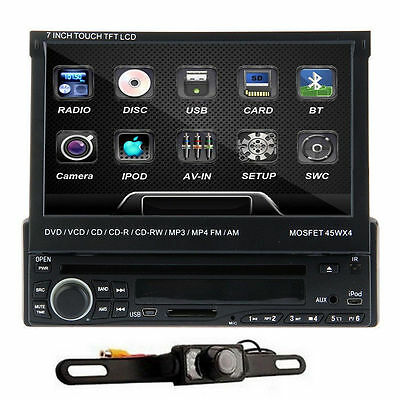 "Car DVD Player Single one DIN 7"" HD Touch screen Radio iPod RDS Bluetooth+Camera"