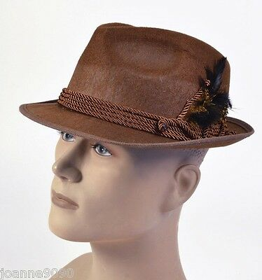 Brown Bavarian German Oktoberfest Fancy Dress Costume Solid Swiss Tirol Felt Hat
