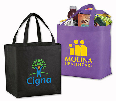 VALUE POLY-AIR GROCERY TOTES - 100 quantity - Custom Printed with Your Logo
