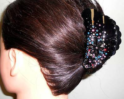 Capella *USA* NEW Black LADYLIKE Colorful Rhinestone Flower Hair Clip Clamp GH15
