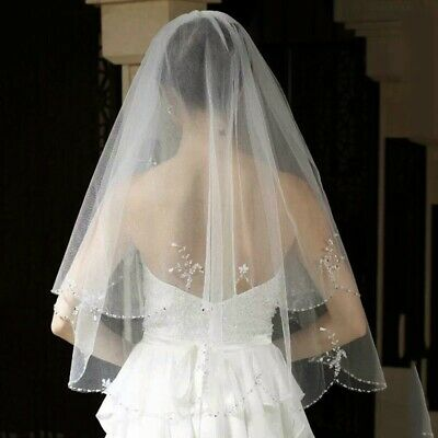 Bridal Wedding White Veil 2 Tier Handmade Elbow Beaded With Comb Soft Tulle