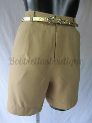 New Womens High Waist Camel Golf Shorts Stylish sophisticated Sizes 8-12 UK
